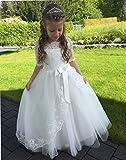 CoCogirls Neueste Halbe Hülse Prinzessin Spitze Blumenmädchen-Kleider Kinder Kids Baby Hochzeit Ballkleid Erstkommunion Kleider (ca.Alter10, Weiß) - 5