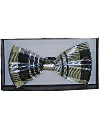 Celtic Tartan Check Satin Dickie Bow Tie with Simple Clip Catch