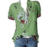 Camisa de Manga Corta de Botón de Mujer,Tallas Grandes Camisetas Mujer Manga Corta Camisas Mujer Verano Elegantes Estampado de Moda Casual para Mujer Fiesta Playa (S, Verde C)