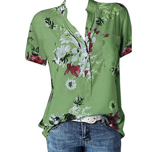 TOPKEAL Oberteil Bedruckung der Pocket Plus Size Short Sleeve T-Shirt Damen Sommer Elegante Damen Bluse Tunika Frühling Causal Tops Mode 2020