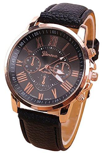 Geneva Kunstleder Armband Armbanduhr (schwarz)