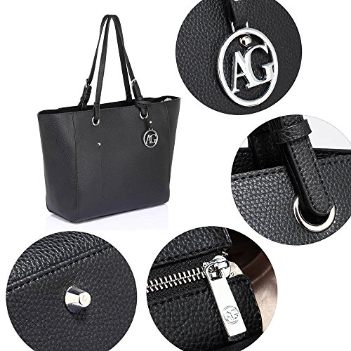 e491b186e248d Griff Texturiert Leder Tasche Handtasche Tote Faux Oben Damen Ebene 0nkOPw