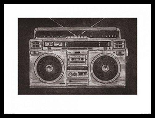 Radios Poster Kunstdruck und MDF-Rahmen Schwarz - Ghetto Blaster, Retro, Barry Goodman (80 x 60cm)