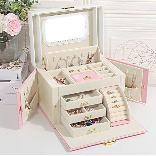 Caso cosmetico gioielli contenitore contenitore di legno con il blocco gioielli a mano, gioielli scatola, gioielli organizzatore, portatile custodia da viaggio, for gli anelli, orecchini, collane