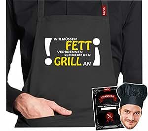 #GRILL: Original HARIZ® Collection Grillschürze Premium // 24 Designs wählbar // Schwarz // Schürze mit Urkunde & Kochmütze // Geschenk #GRILL02: Wir müssen Fett verbrennen