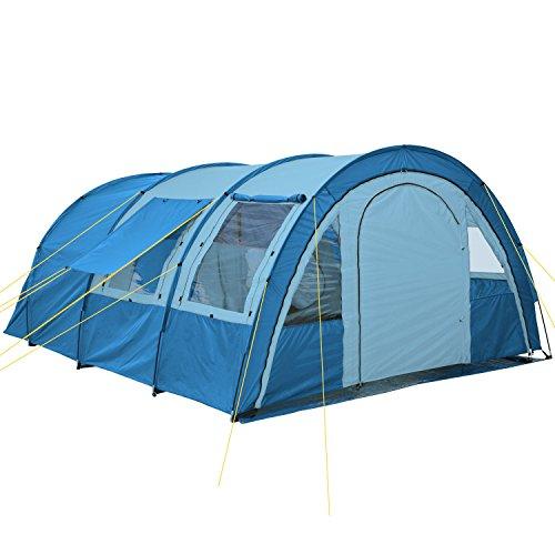 CampFeuer - Tunnelzelt mit 2 Schlafkabinen, blau/hellblau, 5000 mm Wassersäule, mit Bodenplane und versetzbarer Vorderwand - 2