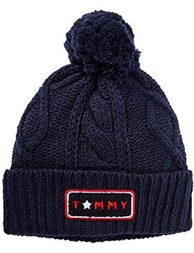 Tommy Hilfiger Damen Strickmütze Cable Pom Beanie, Blau (Tommy Navy 413), One size (Herstellergröße: OS)