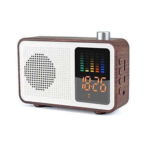 MIABOO Retro Tragbarer Bluetooth-Lautsprecher mit Digital-Radiowecker, AM/FM, Unterstützungs-TF-Karte/Aux-in und USB-Aufladung (Walnußholz)