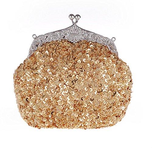 CL Frauen Vintage Retro - Saatgut Perlenbesetzten Pailletten - Blume Klauen Geldbörsen Abend Säcke Abendessen Handtasche Umhängetasche Für Hochzeit Braut - Ball - Party (Gold)