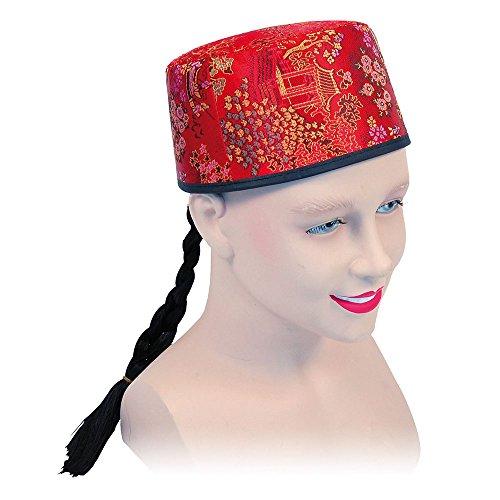 Bristol Novelty bh442Chinese Mandarin Hat Rot Stoff und geflochten, eine Größe (Chinese Mandarin Kostüm)