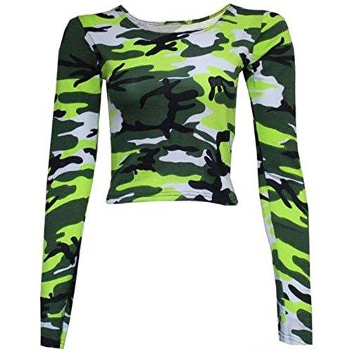 Janisramone Nouveau Femmes Léopard Armée Imprimé Rond Cou Longue Manche Mini Crop Haut Camouflage Néon vert