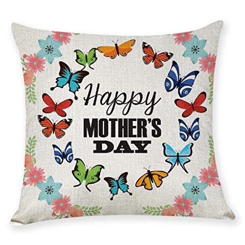 Dtuta Comoda Federa,Fodera per Cuscino Home Decor Stampa Happy Mother's Day Cerniera Invisibile con Cerniera Invisibile in Lavatrice Copertura del Cuscino