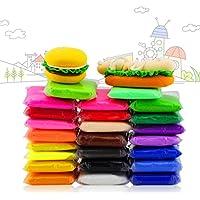 iFergoo Arcilla Aire, 24 Colores Arcilla de Modelado Ultra Ligero, arcilla mágica DIY Creativa Modeladora de Masa con Modos de Frutas y Herramientas de Arcilla de Modelado