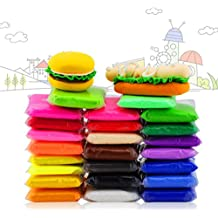 Arcilla Aire, 24 Colores Arcilla de Modelado Ultra Ligero, arcilla mágica iFergoo DIY Creativa Modeladora de Masa con Modos de Frutas y Herramientas de Arcilla de Modelado