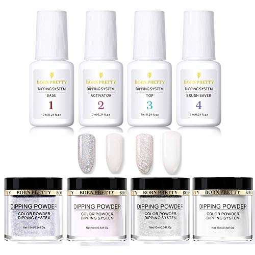 BORN PRETTY dipping nail powder Starter Kit with Acrylic Powder and Gel Resin, Easy to Use French Dip Powders Nail Color System UV/LED Light Free -