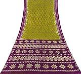 Baumwolle Seide Saree Indian Vintage-Licht Olivgrün Woven