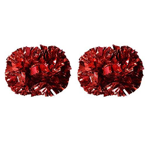 Sport Aerobic Kostüm - Tbest Cheerleader Pom Poms Cheerleading, 1 Paar Cheerleader Pom Poms Aerobic Cheerleading Pompons Metallic für Tanzparty Schule Sport Wettbewerb(Rot)