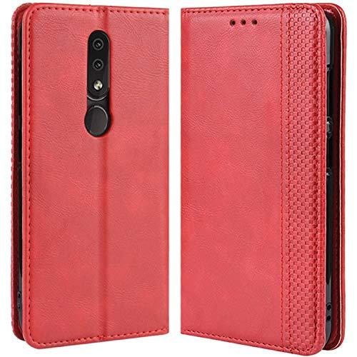 HualuBro Handyhülle für Nokia 4.2 Hülle, Retro Leder Brieftasche Tasche Schutzhülle Handytasche LederHülle Flip Case Cover für Nokia 4.2 2019 - Rot (Hinweis 2 Wallet Case Rot)