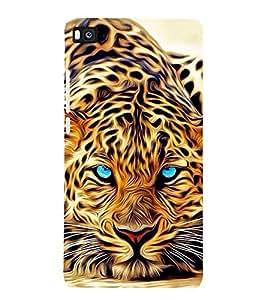 FUSON Blue Eye Tiger Painting 3D Hard Polycarbonate Designer Back Case Cover for Huawei P8