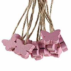 maDDma 16 Deko-Hänger Holz-Anhänger, Schmetterling, 18x23mm, Farbwahl Farbmix, Farbe:rosa