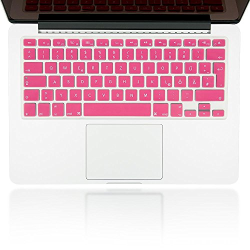 nica Silikon unibody Keyboard Schutzfolie für APPLE MACBOOK AIR / PRO / PRO RETINA 13' & 15' Zoll Tastaturschutz Mac Aufkleber Schutz-Hülle Abdeckung Cover Folie Film Ultra Dünn Transparent, - Apple-aufkleber Pink