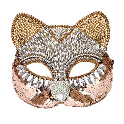 STOBOK Maskerade Maske Strass Fuchs und Katze Gesichtsmasken für Erwachsene (gelb)