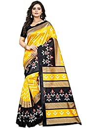 Jaanvi Fashion Women's Art Silk Ikkat Patola Print Saree (Yellow)