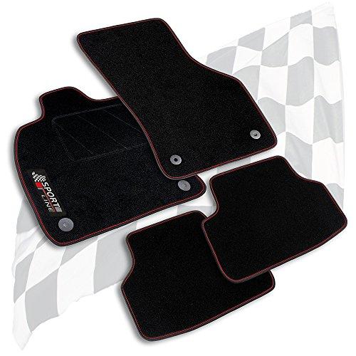 Bär-AfC VW04159 Sport Line Auto Fußmatten Nadelvlies Schwarz | Bandeinfassung mit Roter Ziernaht | Stick Rot & Grau | Set 4-teilig | Passgenau für Modell Siehe Details Bar-sticks
