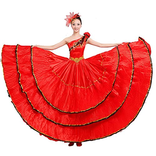 Kostüm Tanz Frauen Flamenco - Byjia Frauen Flamenco Kleid Rock Performance kostüme eröffnungs Tanz blühende blüte Big Swing chor Moderne Tanz spanische Stierkampf red m