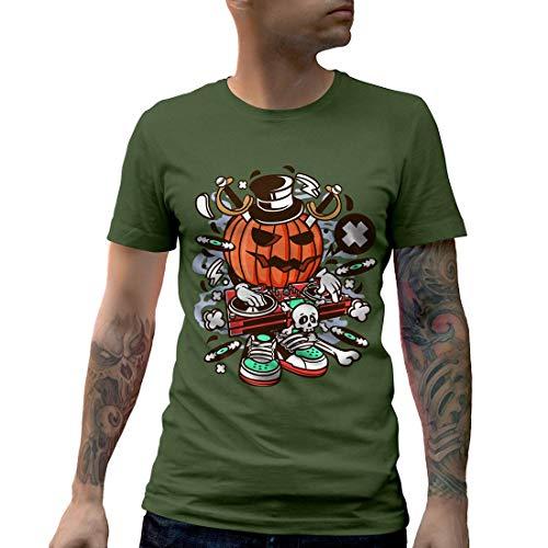C089MCNTMG Herren T-Shirt DJ Halloween Music Disco Club Food Retro Party Funny Stereo Disc Jokey Mono Jack Classic(Medium,Military Green)