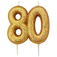 Gold Number Candle - 80