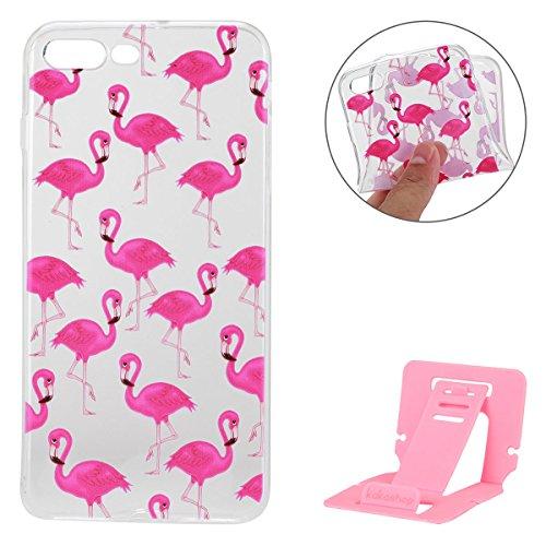Apple iPhone 7 Plus Hülle,iPhone 7 Plus Silikon TPU Gel Case,Ekakashop Ultra dünn Slim Kreativ Design Durchsichtig Transparent Crystal Klar Flexible Gel Case Schutzhülle Defender Bumper Tasche Hüllen  Flamingos