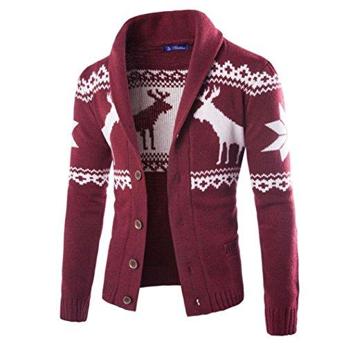 Mode Sport Strickjacke Herren, DoraMe Männer Weihnachten Strickwaren Mantel Winter Weihnachten Hirsch Pullover Jacke Lange ärmel Sweatshirt (Weinrot, S)