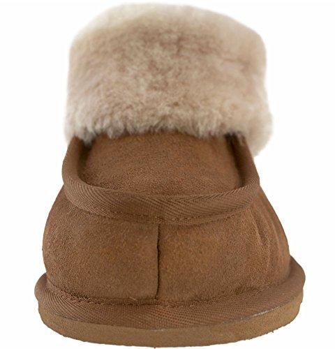 Lambland Chaussons en daim véritable et laine d'agneau pour femme avec semelle légère Marron - Noisette