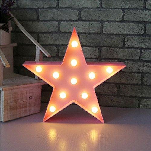 XIYUNTE Luminaires Étoile Modélisation Veilleuses - Rose LED Lampe Table à Batteries Opération Veilleuses murale Décoration Murale pour les Filles Chambre, Salon, Noël, Fête comme