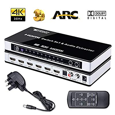 4K HDMI Switcher, Tendak HDMI Switch Splitter 5 to 1 HDMI Selector Switches + SPDIF + L/R Audio Extractor with IR Remoe Control and UK Power Adapter for PS3, PS4, Bluray Player, Virgin box, Game box and More