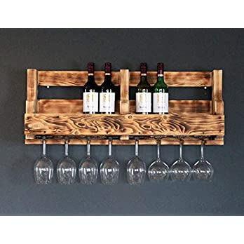 Weinregal aus Holz für die Wand – mit Gläserhalter – Braun (geflammt) – fertig montiert – Regal für Weinflaschen und Weingläser