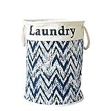 YOUJIA Stoff Wäschebehälter für Schmutzwäsche Klappbare Wäschekorb Wäschesammler Wäschebox Rund Wäschetonne Kleidung Spielzeug Aufbewahrung Korb (Kordelzug) Blau, 35*45 cm