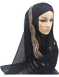 Lonshell/_Beanie Damen Herren Muslim Damen Strecken Kopftuch Islamischen Abaya Dubai Frauen Elegante Gesichtsschleier Lose Turban Hidschab Schal Ramadan Kopfbedeckung Hijab Bandana