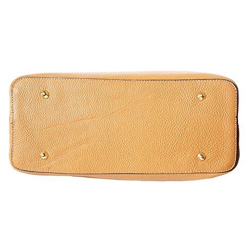 """Bambusgriff Lederhandtasche """"veronica"""" mit goldenen Metall-Hardware 9139 Licht braun"""
