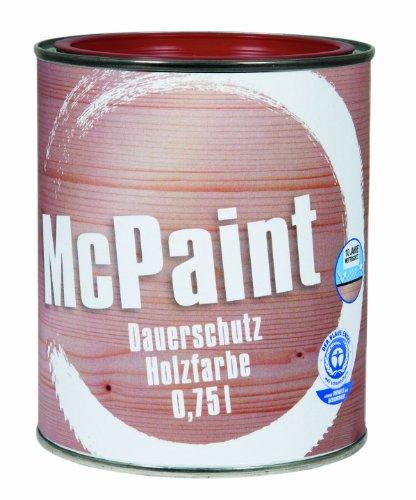 McPaint Wetterschutzfarbe - Holzfarbe für außen auf Acryl Basis mit langanhaltendem Wetterschutz, PU-verstärkt, Möbellack, seidenmatt, 0,750L, Schwedenrot - Weitere Farbtöne verfügbar