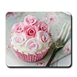 Gifts Flowers Food Best Deals - CafePress color rosa Cupcake - Goma antideslizante alfombrilla de ratón, alfombrilla de ratón para juegos