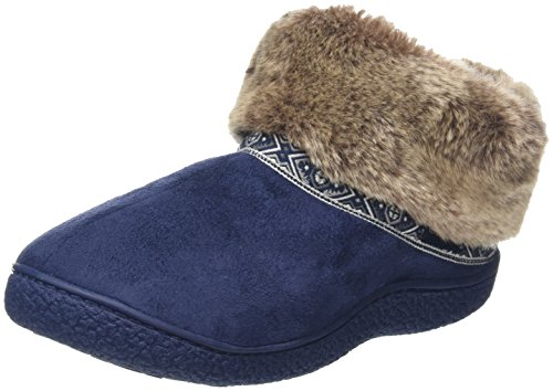 Isotoner - Pillowstep Bootie With Fur Cuff And Tape Trim, Pantofole Donna Blu (Blu (Navy))