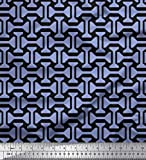 Soimoi Blau Satin Seide Stoff geometrisch abstrakt Stoff
