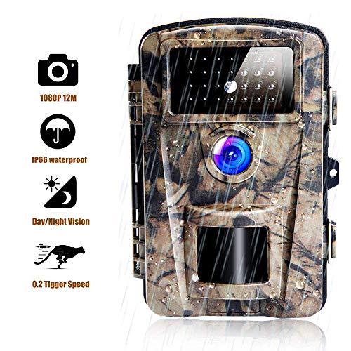 XHLLX Hinterkamera Jagdkamera 12MP 1080P Wildkamera Mit 2,4-Zoll-LCD IP66 Wasserdicht Wildkamera Nachtsichtbereich 65 Fuß 0,2 S-0,6 S Auslösezeit