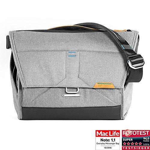 Peak Design Everyday Messenger Bag 15 Ash Schultertasche (Fototasche) für 1 DSLR-Kamera, 2-3 Objektive, 1 15-Zoll-Notebook, 1 Stativ und Zubehör (helllgrau)