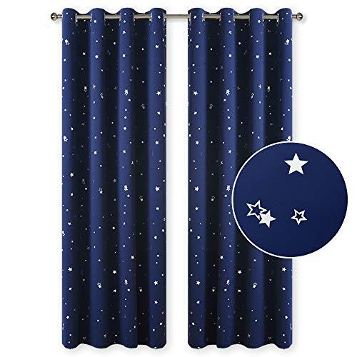 PONY DANCE 2er Set Kindervorhänge Sterne - Gardinen Blickdicht Thermovorhang Sterne Kinderzimmer Gardinen Junge Ösenvorhang, Blau, 2 Stücke H 213 x B 132 cm