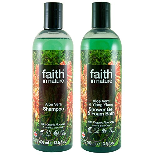Faith In Nature Aloe Vera Shampoo 400ml & Shower Gel 400ml Duo (Shampoo Natur Gel)