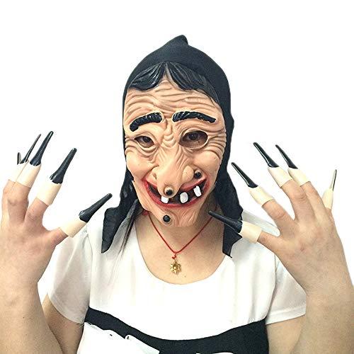 JASNO Deluxe Neuheit Halloween Kostüm Latex Hexe Maske Mit Nägeln Masquerade Party Zubehör Spielzeug (Für Bemalen Halloween Hexe Gesicht)