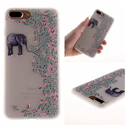 iPhone 7 Plus Hülle, Voguecase Silikon Schutzhülle / Case / Cover / Hülle / TPU Gel Skin für Apple iPhone 7 Plus/iPhone 8 Plus 5.5(Weltkarte 01) + Gratis Universal Eingabestift Elefant blume